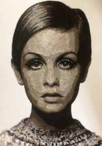 Twiggy made with resin, human hair and acrylic paint on MDF board